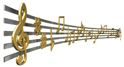 Posters Notes de l'or de la musique sur Lignes ondulées