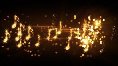 Posters Notes de musique scintillantes et feux d'artifice
