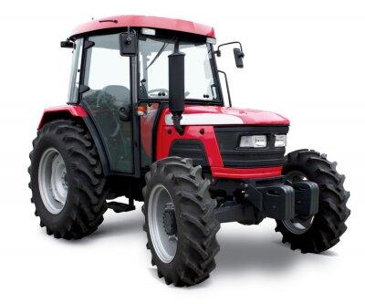 Posters Nouveau tracteur rouge isolé sur fond blanc
