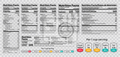 Posters Nutrition facts Label. Vector. Food information with daily value. Data table ingredients calorie, fat, sugar. Package template. Flat illustration isolated on transparent background. Layout design