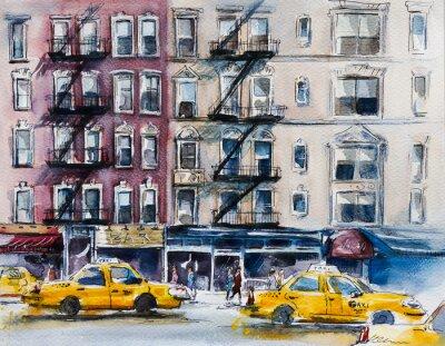 Posters Occupé rue de New York. esquisse à l'aquarelle