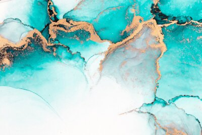 Posters Ocean blue abstract background of marble liquid ink art painting on paper . Image of original artwork watercolor alcohol ink paint on high quality paper texture .