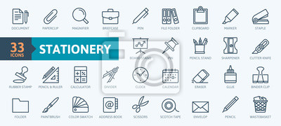 Posters Office stationery - minimal thin line web icon set. Outline icons collection. Simple vector illustration.