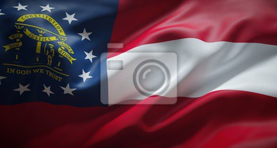 Posters Official flag of the state of Georgia. United States of America.