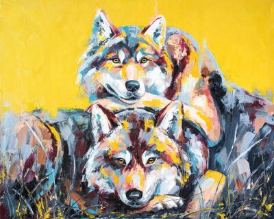 Posters Oil wolf portrait painting in multicolored tones. Conceptual abstract painting of a couple wolves. Closeup of a painting by oil and palette knife on canvas.