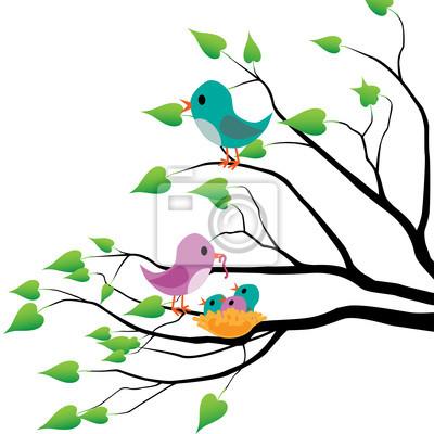 Posters oiseaux au printemps