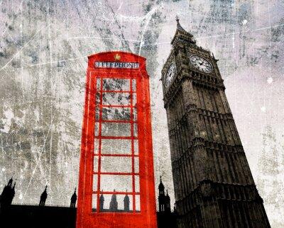 Posters Old London Composer Telefonzelle und Big Ben