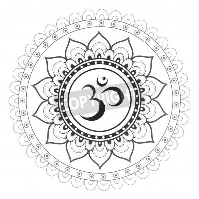 Posters Om, aum, sanskrit, Symbole, mandala, ornement