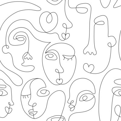Posters One line drawing abstract face seamless pattern. Modern minimalism art, aesthetic contour. Continuous line background with woman and man faces. Vector group of people