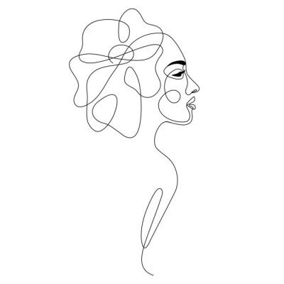 Posters One line drawing abstract woman face with flower in her hair. Continuous line art female portrait. Modern minimalism, aesthetic contour. Vector beauty illustration