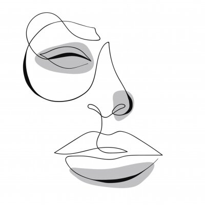 Posters One line drawing face. Modern minimalism art, aesthetic contour. Abstract woman portrait minimalist style. Single line vector illustration