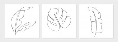 Posters One line drawing vector monstera leaf and banana tree leaves. Modern single line art, aesthetic contour. Perfect for home decor such as posters, wall art, tote bag, t-shirt print, sticker, mobile case
