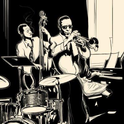 Posters Orchestre de jazz avec contrebasse trompette piano et tambour