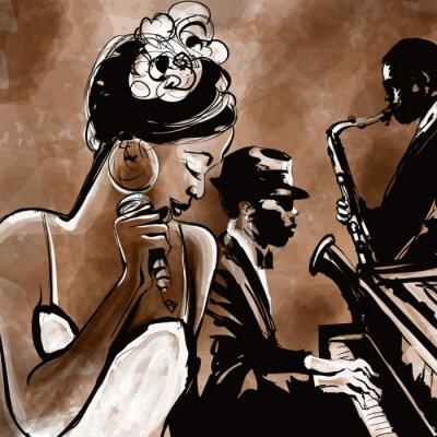 Posters Orchestre de jazz avec le chanteur, saxophone et piano - illustration