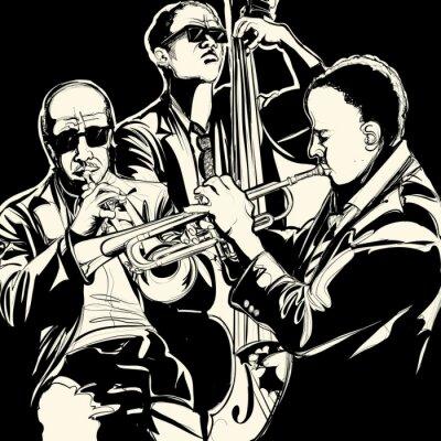 Posters orchestre de jazz avec trompette et contrebasse