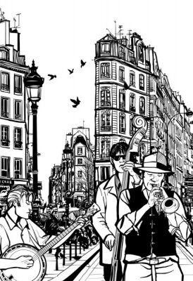 Posters Orchestre de jazz dans une rue de Paris