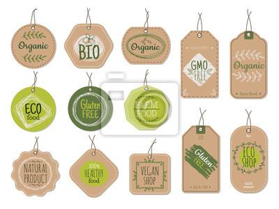 Posters Organic cardboard labels. Eco paper badges, green farm nature product price shop tags with ecologic emblems. Vintage bio vector set. Illustration eco natural vegan cardboard, label market for product