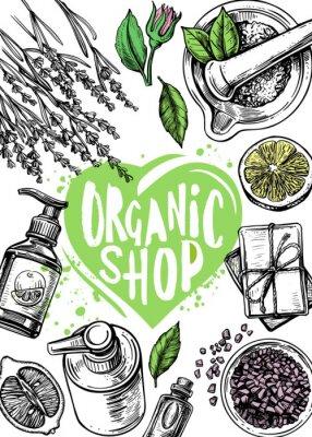 Posters organic store cosmetics