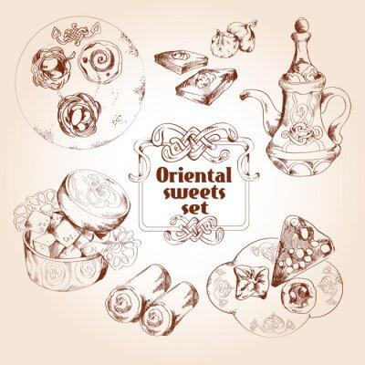 Posters Oriental bonbons croquis ensemble