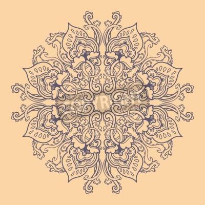 Posters Ornamental round floral lace pattern. kaleidoscopic floral pattern, mandala.
