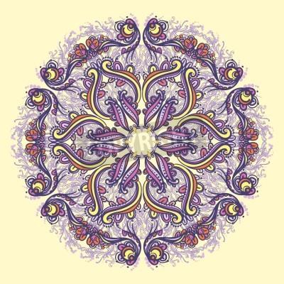 Posters Ornamental round floral lace pattern  kaleidoscopic floral pattern, mandala