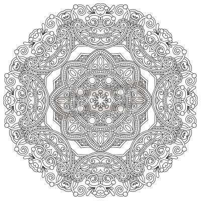 Posters ornement de cercle, de la dentelle tour ornementale en noir et blanc