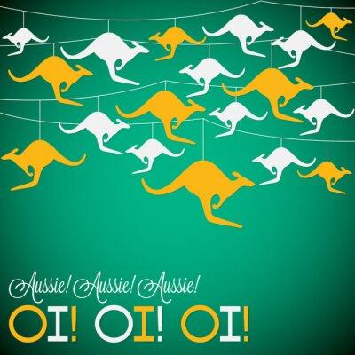 Posters Ornement de kangourou Carte de jour de l'Australie en format vectoriel.