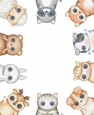 Posters Oval frame composition with kawaii cartoon cute cat, dog, bear, fox, rabbit, cow, raccoon, deer, sheep and pony isolated on white background. Watercolor hand drawn illustration