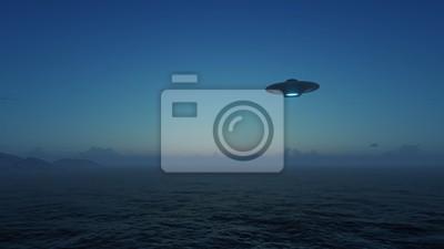 Posters OVNI rendu 3D au dessus de l'océan
