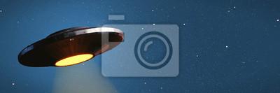 Posters OVNI, vaisseau spatial extraterrestre avec faisceau lumineux dans le ciel nocturne, soucoupe volante avec fond d'étoile bleue (bannière illustration 3D)