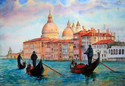 Posters Painting of Venice Italy, painted by watercolor