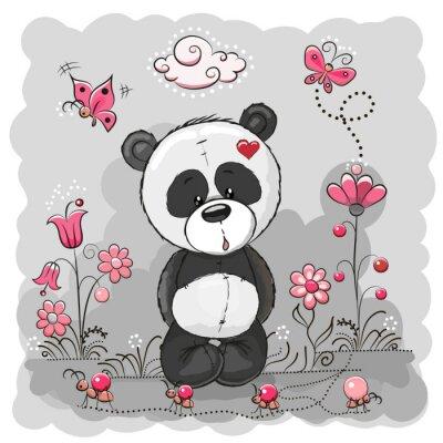 Posters Panda avec des fleurs
