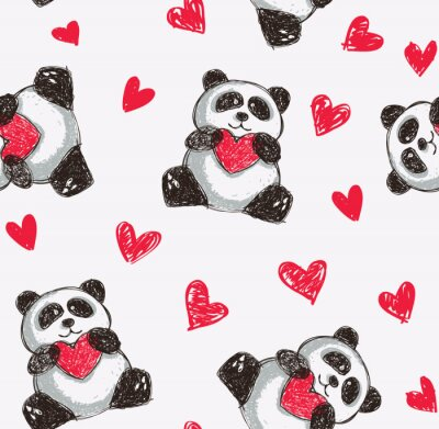 Posters panda coeur tenant de fond sans soudure
