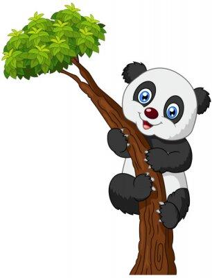 Posters Panda mignon arbre d'escalade de bande dessinée