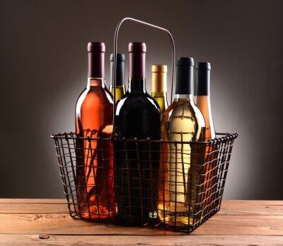 Posters Panier, achats, rempli, vin, bouteilles