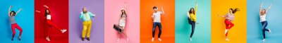 Posters Panorama collage eight cool funny attractive active modern people six ladies two guys men good mood dance discotheque party isolated many colors blue violet teal orange yellow pink red background