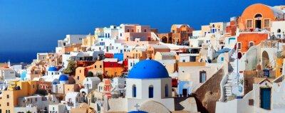Posters Panorama de la célèbre ville Grèce Oia. L'île de Santorin