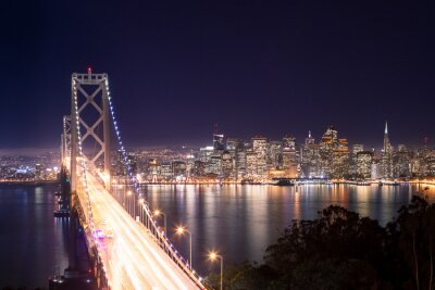Posters Panorama di San Francisco Bay Bridge e di notte