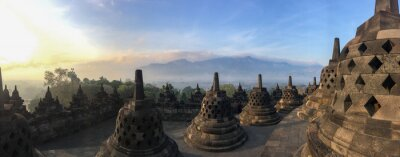 Posters Panorama of Borobudur sacred temple, stuning ancient temple with black stone bells (stupa) in yogyakarta, java, indonesia