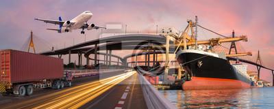 Posters Panorama transport et logistique concept par camion bateau avion pour logistique Import export fond