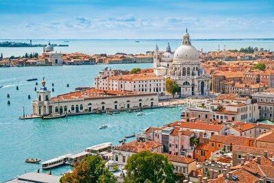 Posters Panoramic aerial cityscape of Venice with Santa Maria della Salute church, Veneto, Italy