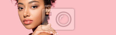 Posters panoramic shot of beautiful african american girl with clean face, isolated on pink