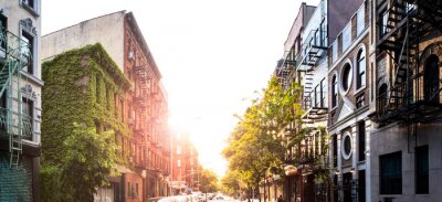 Posters Panoramic view of the historic buildings on Stanton Street in the Lower East Side neighborhood of New York City