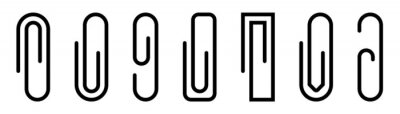 Posters Paper clip icons set. Black paperclip collection. Attach symbol. Document staple icons