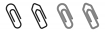 Posters Paper clip icons set on white background. Paperclips in flat style. Office Paper Clip sign. Vector