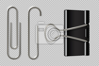 Posters Paper clips. Realistic binder, paper holder isolated on white background, macro metal notebook fasteners. Vector paper clip set