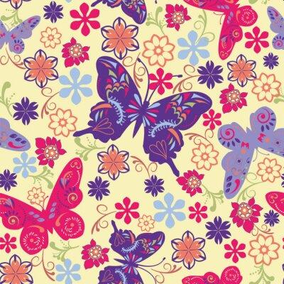 Posters Papillon et fleurs Seamless - Illustration