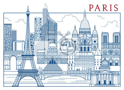 Paris Attractions. Handmade illustration vectorielle dessin. Tous les bâtiments - différents objets personnalisables avec remplissage d'arrière-plan