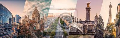 Posters Paris famous landmarks collage