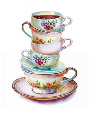 Posters Party tasses colorées de thé et soucoupes closeup. Esquisse faite à la main. Carte postale pour la Saint-Valentin. Illustration d'aquarelle.